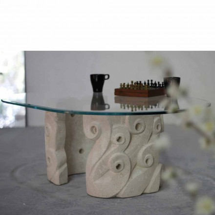 Modern design coffee table made of natural stone and crystal Lindos