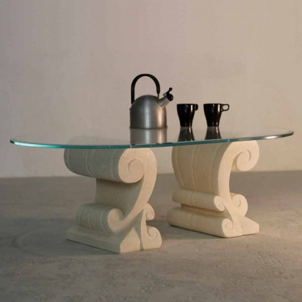 Coffee table with crystal top and natural stone base Aracne-S