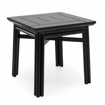 Outdoor Coffee Table in Natural or Black Wood, 2 Sizes - Suzana