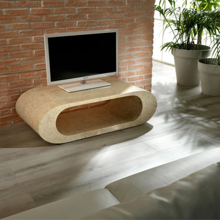 Coffee table / TV table made of fossil stone, grey color