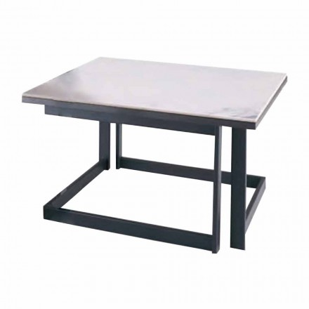 Square Coffee Table in Gres with Metal Base Made in Italy - Albert
