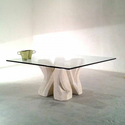 Swell Squared Natural Stone Coffee Table With Crystal Top Kos Modern Design Ncnpc Chair Design For Home Ncnpcorg