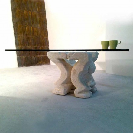 Squared natural stone and crystal coffee table Medusa-S, made in Italy