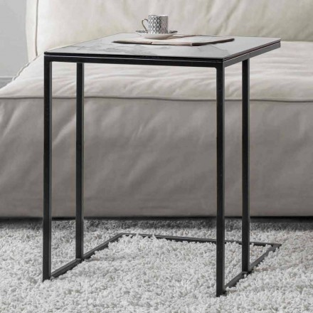 Square Coffee Table in Ceramic Glass with Metal Base - Anselmo