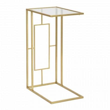Rectangular Coffee Table in Iron and Modern Glass - Albertino