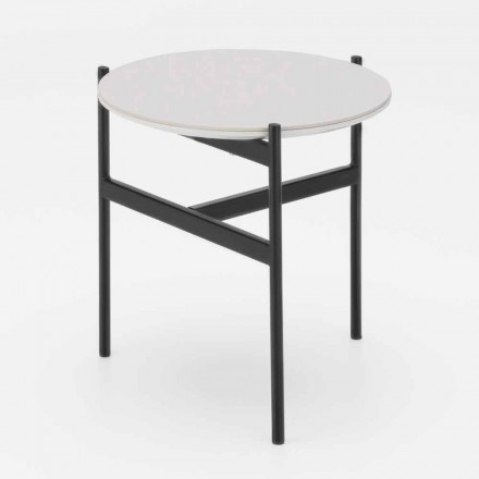 Modern Design Ceramic and Metal Round Coffee Table - Gaduci
