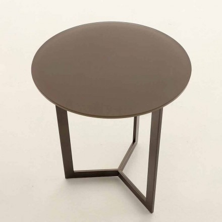 Round Coffee Table with Crystal Top Made in Italy - Indio