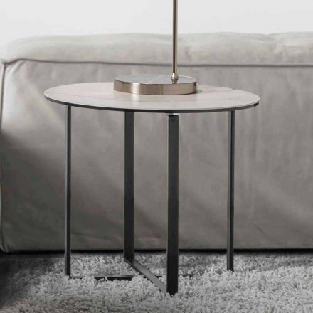 Round Coffee Table with White Marble Ceramic Glass Top - Anselmo