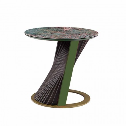 Luxury Round Coffee Table in Gres and Ash Made in Italy - Bering