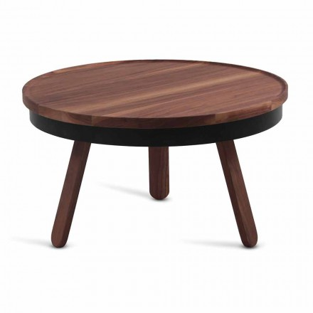 Round Design Coffee Table in Solid Wood and Metal - Salerno