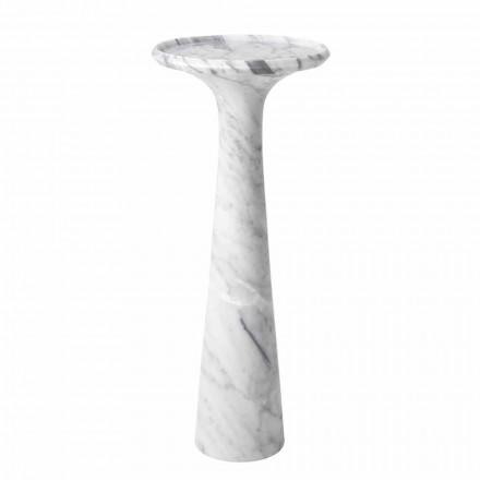 Round Design Coffee Table in White Carrara Marble - Udine