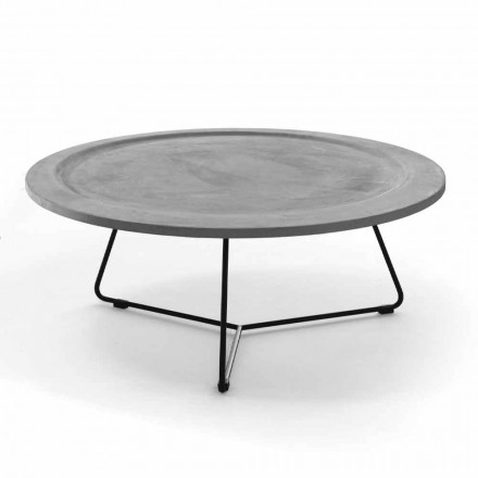 Round Coffee Table in Concrete and Black Metal Made in Italy - Evolve