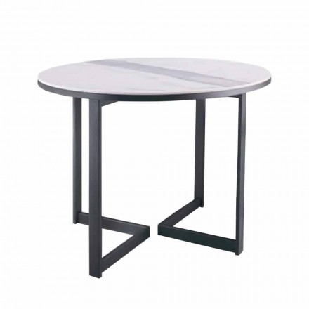 Round Coffee Table in Gres and Modern Metal Made in Italy - Albert