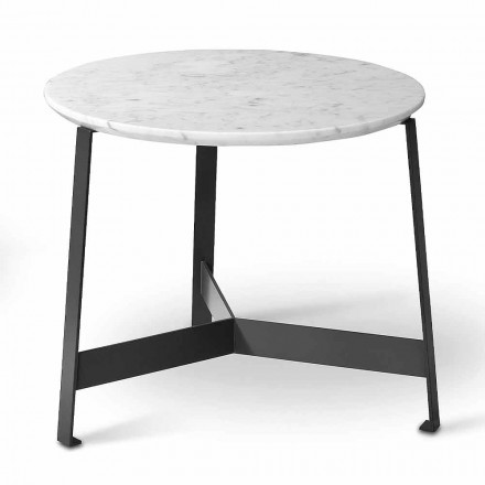 Round Marble Coffee Table with Metal Base Made in Italy - Juliana