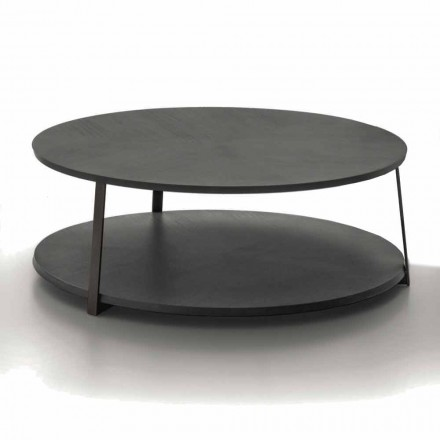 Round Coffee Table in Mdf with Metal Structure Made in Italy - Aloe