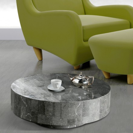 Round fossil stone end table Vermont 1