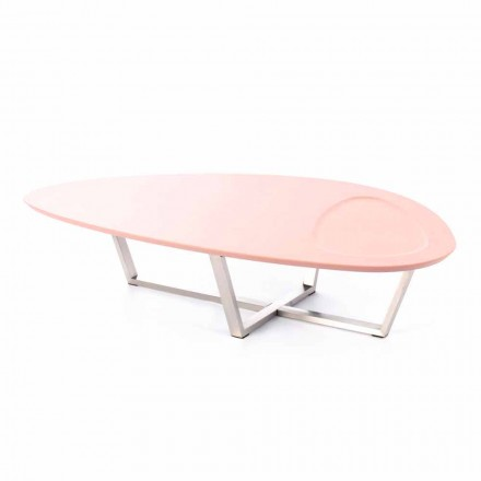 Modern Shaped Lounge Table in Mdf and Chrome Metal - Pimpa