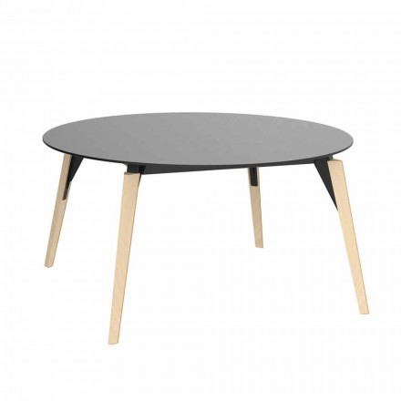 Round Wooden Coffee Table and Hpl Top in 2 Sizes - Faz Wood by Vondom