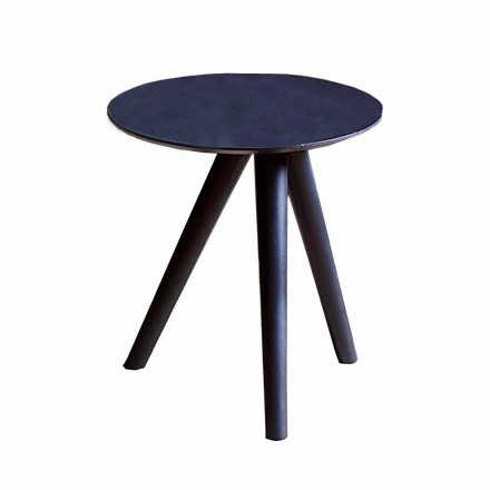 Round Coffee Table in Black Gray Lacquered Wood Made in Italy - Stuttgart