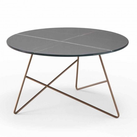 Round Metal Coffee Table with Marble Effect Glass Top - Magali