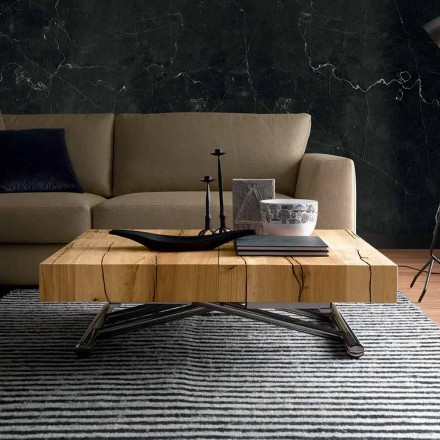 Transforming Coffee Table in Solid Wood Made in Italy - Trabucco