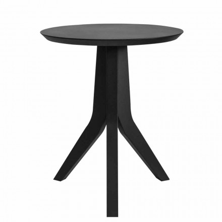 Modern Round Design Black Lacquered Wood Coffee Table - Sperone
