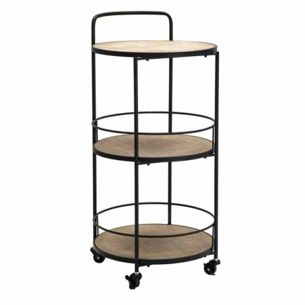 Modern Design Coffee Table in Iron and MDF with Wheels and 3 Shelves - Lennox