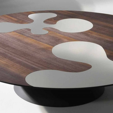 Contemporary larch wood design side table with lilac stainless steel inserts