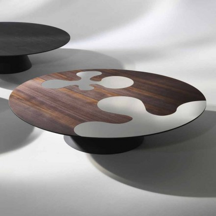 Coffee table made of larch wood with stainless steel inserts Giglio