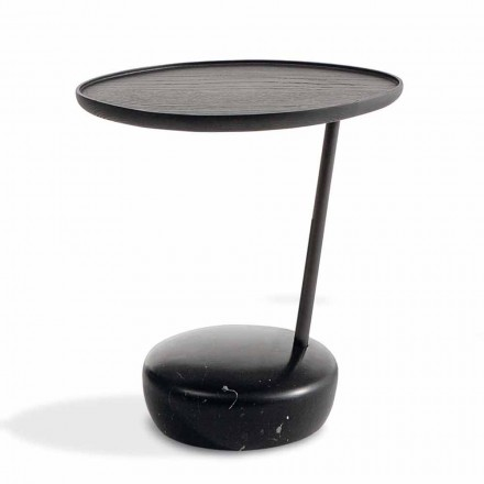 Round Design Coffee Table with Solid Wood Top Made in Italy - Bonaldo Lupino