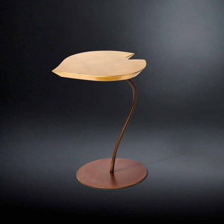 Wooden coffee table Leaf with iron base