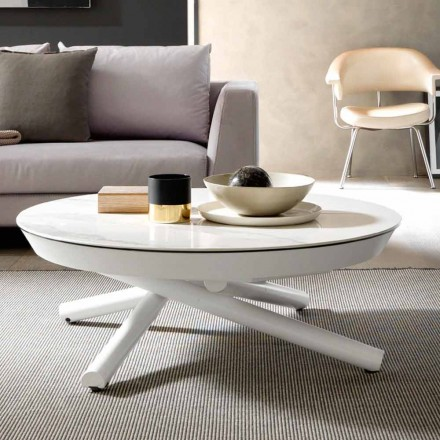 Ceramic Coffee Table Convertible into a Dining Table, Made in Italy  - Azelio