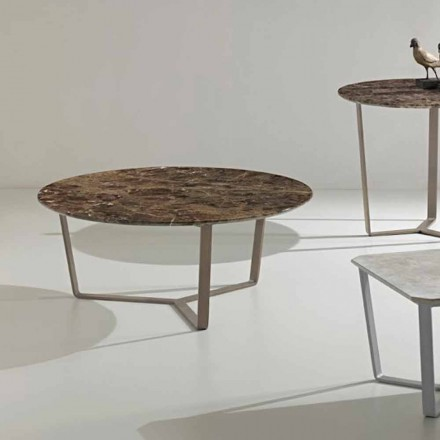 Round coffee table made of emperador marble, modern design, Adone