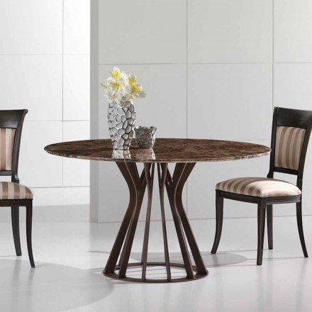 Dining table made of emperador dark marble, modern design, Cesare