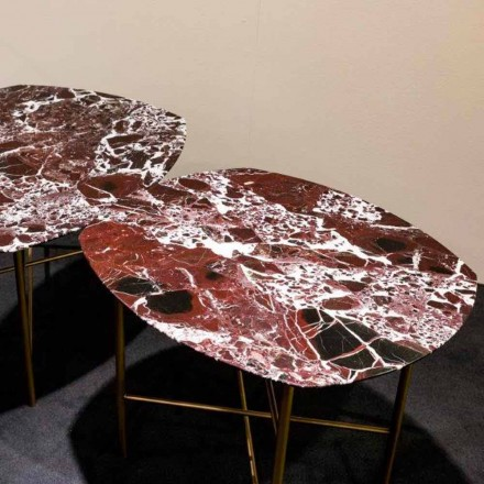 Design Table in Levanto Red Marble and Metal, Made in Italy - Morbello