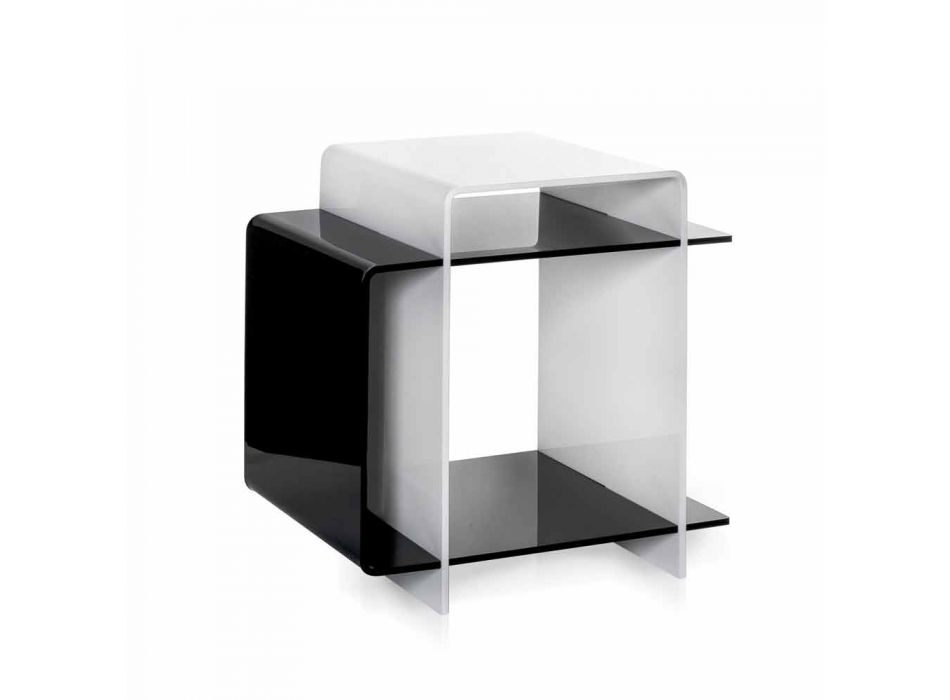 Contemporary coffee table with 3 shelves black and white Gosto made in Italy