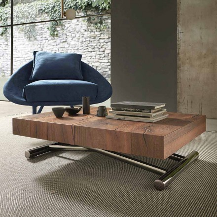 Modern Transformable Coffee Table in Wood and Metal, Made in Italy - Spirit
