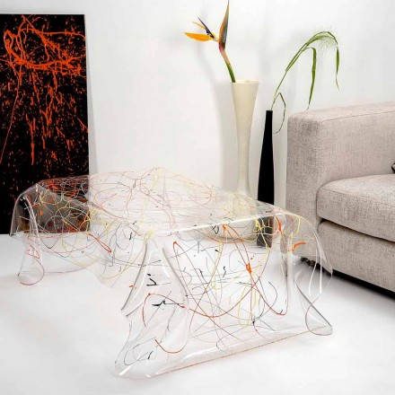 Modern table made of multicolored plexiglass made in Italy, Asia