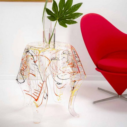Modern multicolored plexiglass coffee table made in Italy, Otto