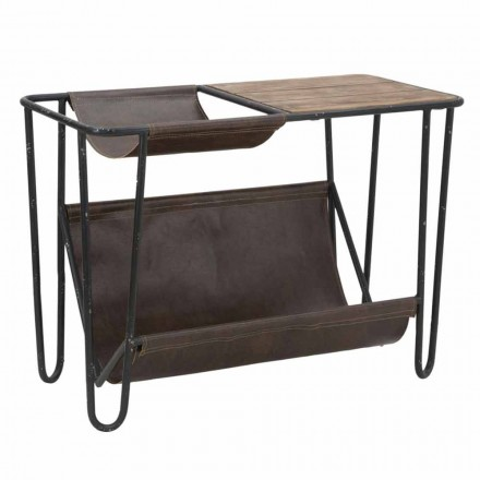 Vintage Newspaper stand in Iron and Faux Leather - Merica