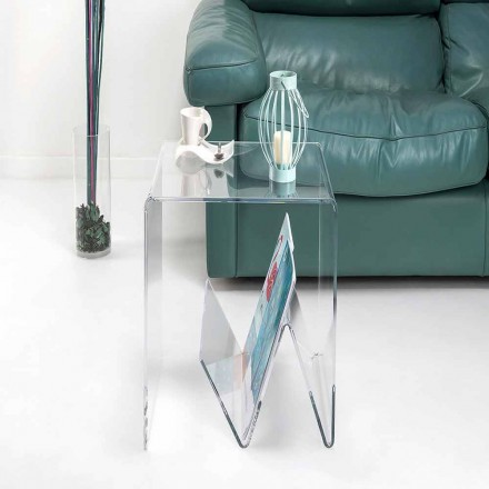 Modern design small table/magazine rack, in plexiglass, Cavour