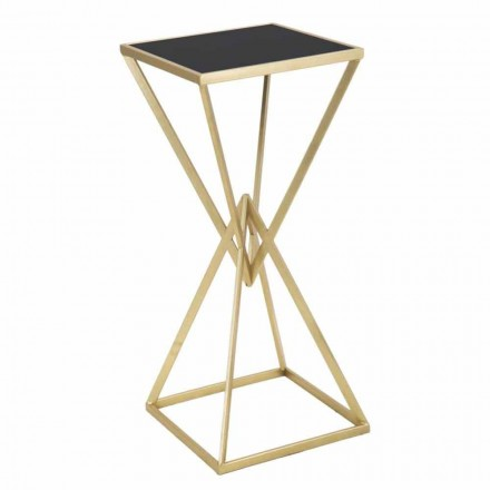 Modern Square Iron and Glass Telephone Table - Melanie