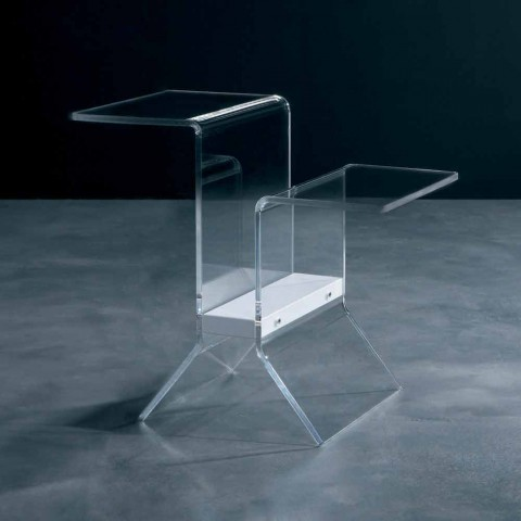 Coffee table / magazine rack in transparent methacrylate and lacquered mdf Noan