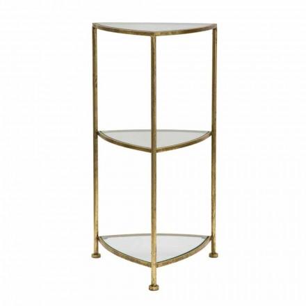 Modern triangular 3-shelves telephone table in iron and glass - Kora