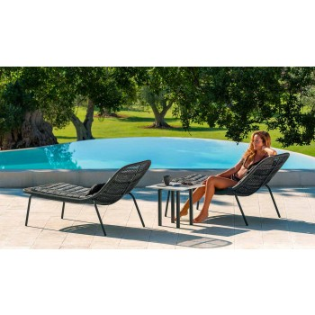 Aluminum and Gres Square Coffee Table for Outdoor - Panama by Talenti