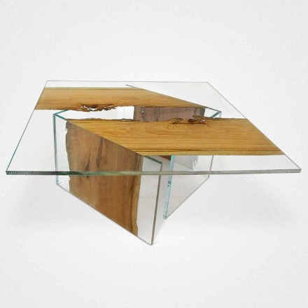 Squared coffe table Laguna, made of Briccola wood and glass