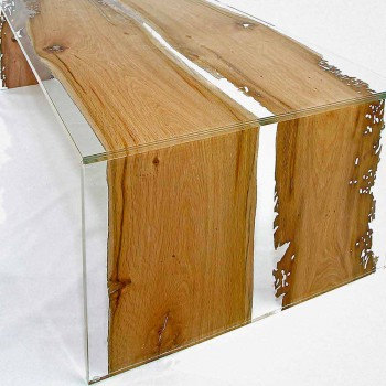 Rectangular glass and briccola wood table by Venezia Giudecca
