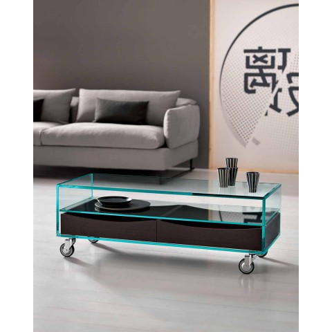 Rectangular Coffee Table in Extralight Glass with Drawers Made in Italy - Ganzo