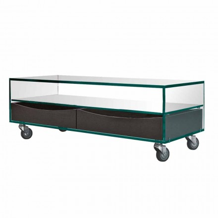 Rectangular Coffee Table in Extraclear Glass with Drawers Made in Italy - Ganzo