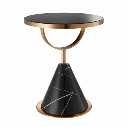 Round Coffee Table in Steel with Copper Finish and Modern Stone - Aprilia